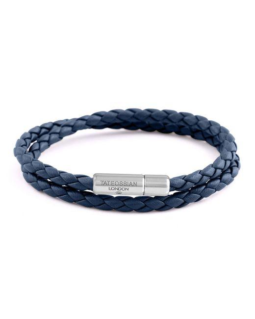 Tateossian | Blue Men's Braided Leather Double-wrap Bracelet for Men | Lyst