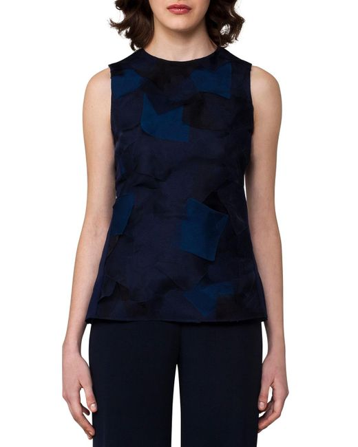 Akris | Blue Sleeveless Patchwork Petal Organza Blouse | Lyst