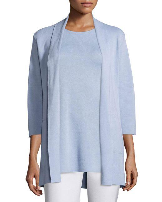 Eileen Fisher - Blue 3/4-sleeve Silk/organic-cotton Jacket - Lyst
