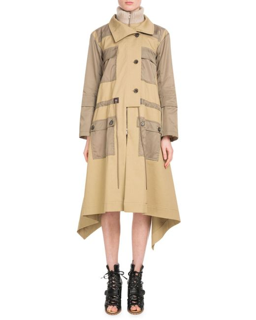 Chloé - Brown Zip-front Mid-calf Parka Coat W/ Nylon Patch Pockets - Lyst