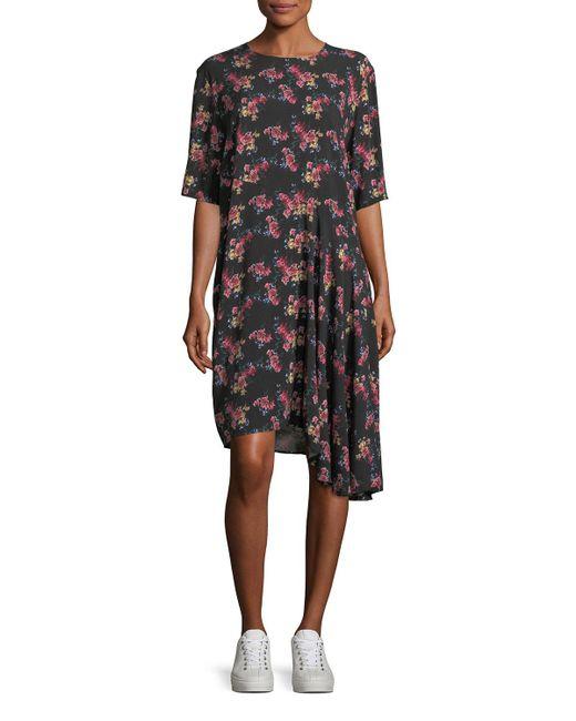 Public School - Black Rima Crewneck Half-sleeve Floral-print Dress - Lyst