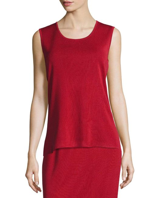 Misook Red Petite Scoop-neck Sleeveless Knit Tank