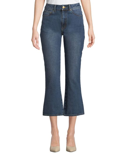 Co. Blue High-rise Five-pocket Flared-leg Cropped Jeans