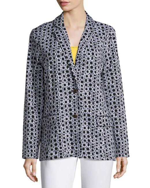 Joan Vass - Black Geometric Jacquard Interlock Jacket - Lyst