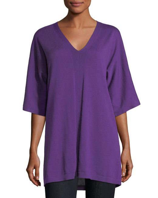 Eileen Fisher - Purple V-neck Merino Jersey Tunic - Lyst