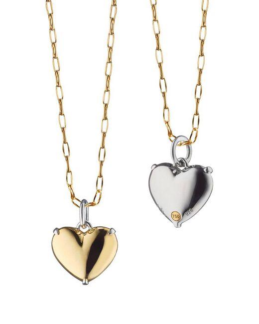 Monica Rich Kosann Metallic Two-tone Heart Of Gold Charm Necklace