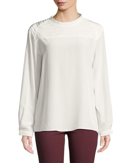 J Brand - White Chrystal Pleated Long-sleeve Silk Top - Lyst