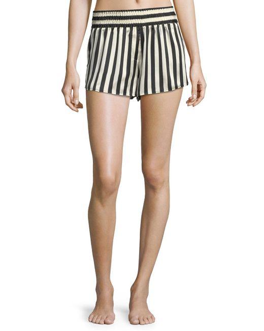 Morgan Lane   Blue Corey Striped Silk Pajama Shorts   Lyst