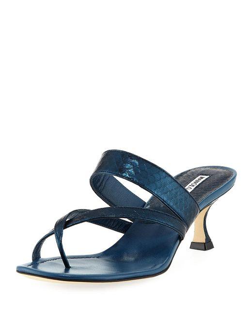 963ae07419b4 Lyst - Manolo Blahnik Susa Strappy Snakeskin Thong Sandals in Blue ...
