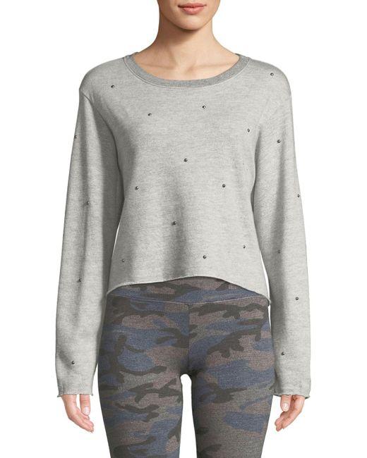 Sundry - Gray Raw-edge Embellished Boxy Sweatshirt - Lyst