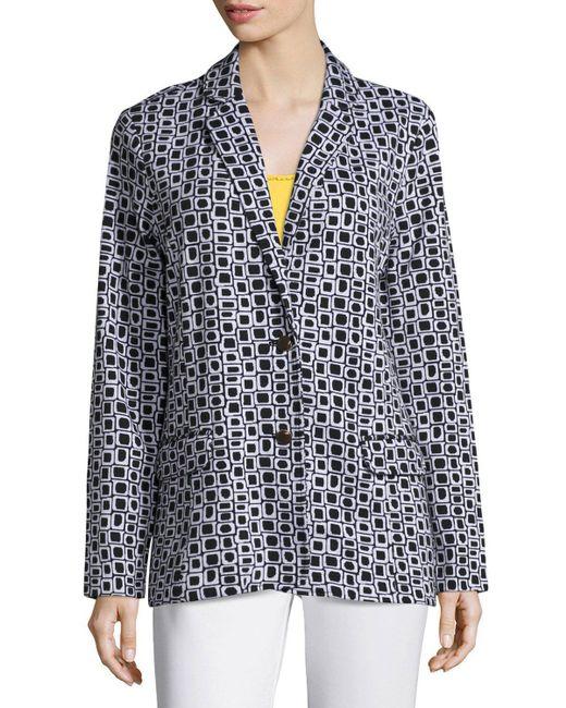 Joan Vass | Black Geometric Jacquard Interlock Jacket | Lyst