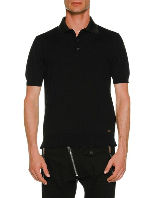 DSquared² - Black Polo Shirt W/ Leather Collar for Men - Lyst