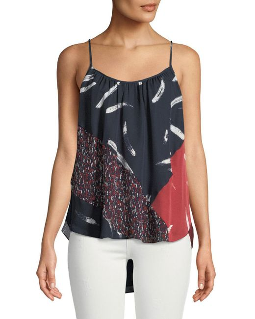 Joie - Blue Leniline Printed High-low Top - Lyst