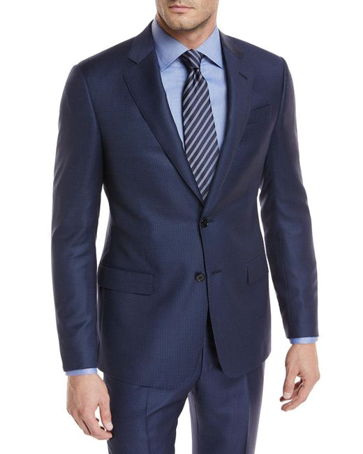 Giorgio Armani - Blue Tonal-dot Wool Two-piece Suit for Men - Lyst