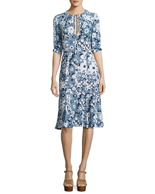 Michael Kors | Blue Floral Bias-cut Keyhole Dress | Lyst