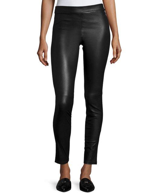Theory | Black Adbelle L2 Bristol Leather Leggings | Lyst