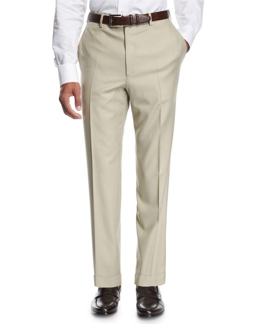 Brioni - Natural Wool Flat-front Trousers for Men - Lyst