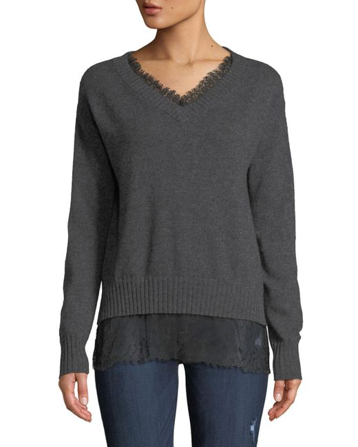 Neiman Marcus - Gray Lace-trim Cashmere V-neck Pullover Sweater - Lyst