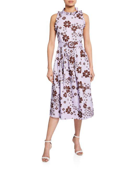 Kate Spade Purple Flora Spade Midi Dress