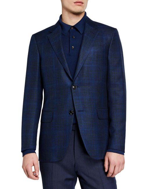 Ermenegildo Zegna Blue Men's Cashmere Plaid Sport Coat for men