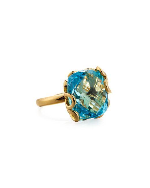Miseno Sea Leaf 18k Gold & Blue Topaz Ring, Size 6