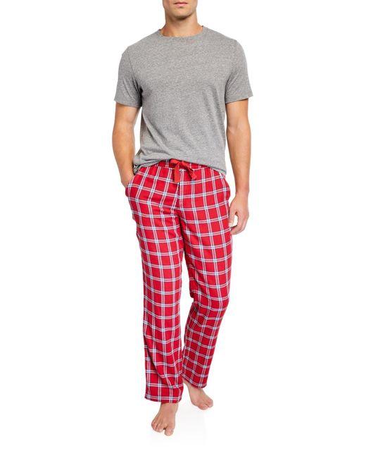 Hanes Men/'s Jersey Microfleece Sleep Set Dark Red Top Plaid Red Blue Green