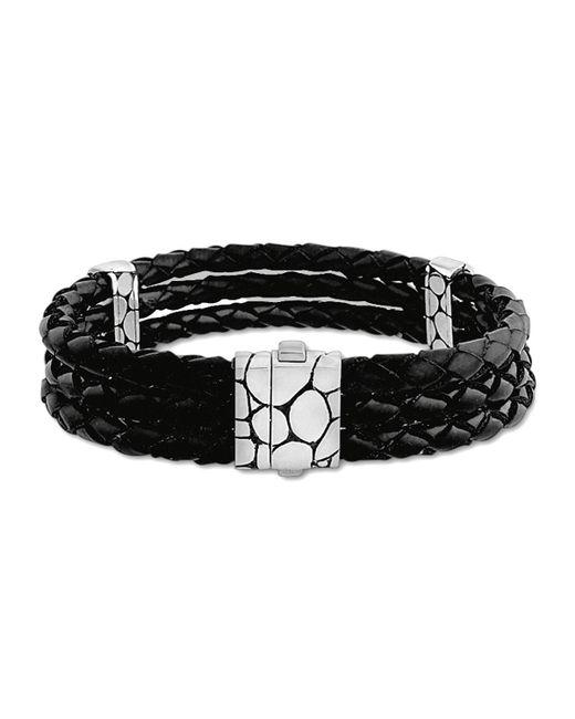 John Hardy - Kali Black Woven Leather Triple-row Bracelet for Men - Lyst