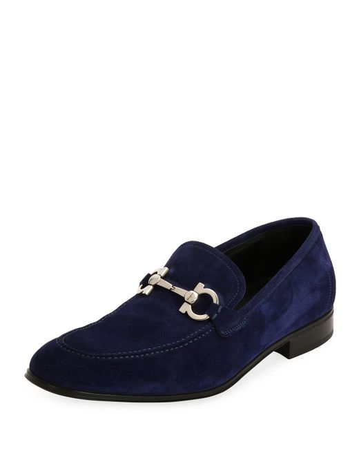 Ferragamo | Blue Flori 2 Suede Gancini Loafer for Men | Lyst