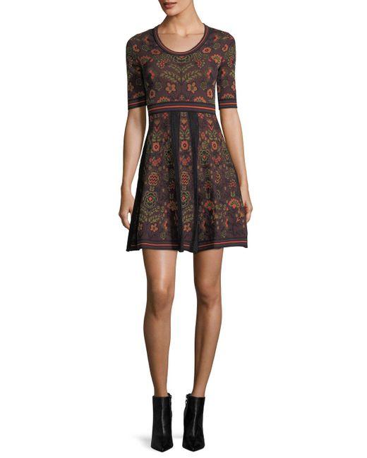 M Missoni | Black Elbow-sleeve Floral Jacquard Knit Dress | Lyst