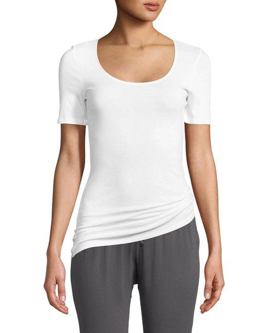 Hanro White Sea Island Cotton Scoop-neck T-shirt