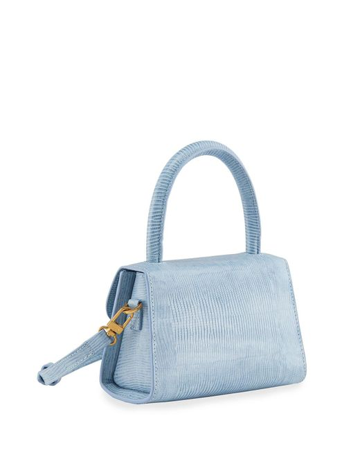 By Far Blue Mini Lizard Embossed Top-handle Bag