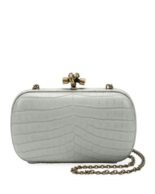Lyst - Bottega Veneta Chain Knot Crocodile Clutch Bag in Gray 0f9fe6727872b
