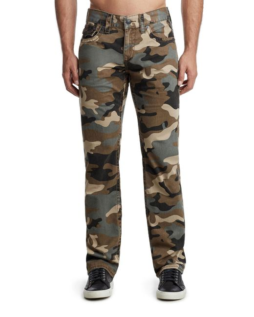 True Religion Green Men's Ricky Camo-print Denim Jeans for men