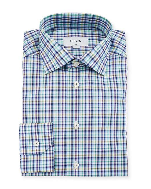Eton of Sweden Green Men's Slim-fit Tattersall Cotton Dress Shirt for men