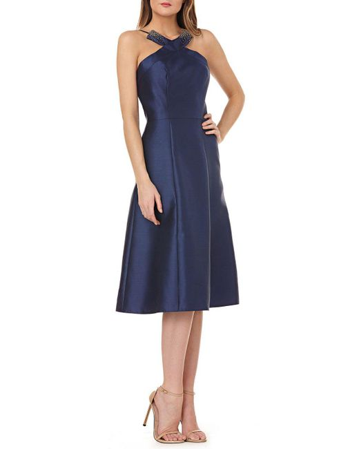 Kay Unger - Blue Fit-and-flare Halter Dress W/ Beading - Lyst