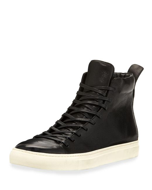 John Varvatos - Black Men's 315 Reed Leather Mid-top Sneakers for Men - Lyst
