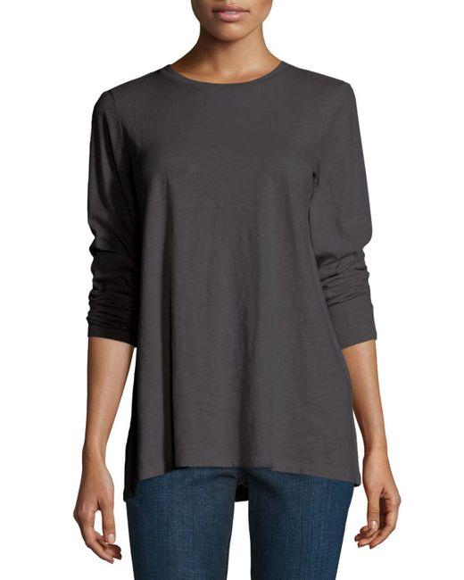 Eileen Fisher - White Long-sleeve Slubby Organic Jersey Top - Lyst