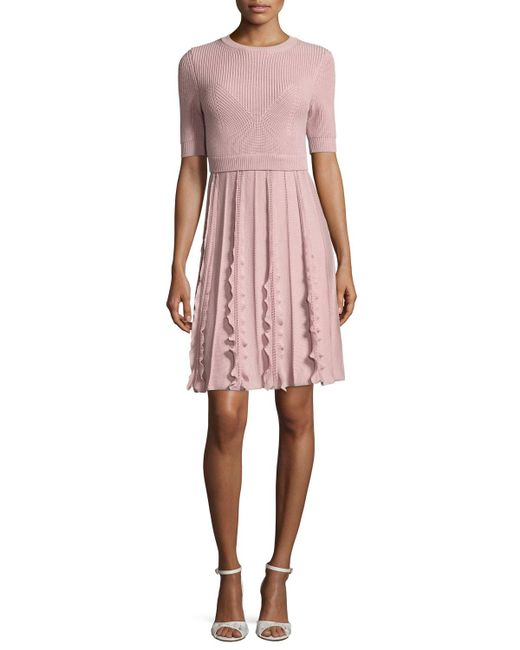 Valentino | Pink Short-sleeve Knit Wool Dress | Lyst