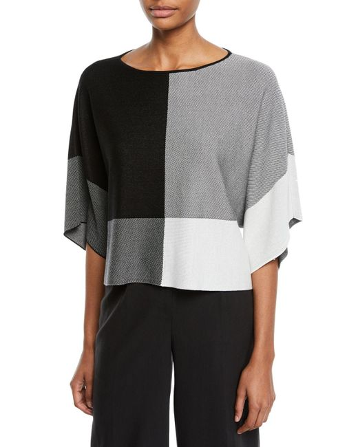 Eileen Fisher - Black Colorblock Lyocell Sweater - Lyst