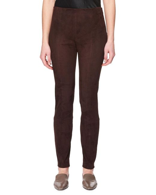 The Row - Brown Cosso Skinny Suede Pants - Lyst