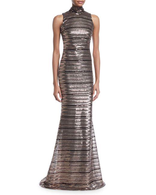Badgley Mischka - Metallic Sleeveless Striped Sequin Trumpet Gown - Lyst