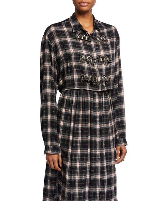 Loyd/Ford Black Applique Frock Plaid Shirt