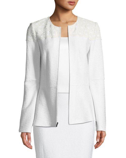 St. John - White Caris Knit Jewel-neck Jacket - Lyst