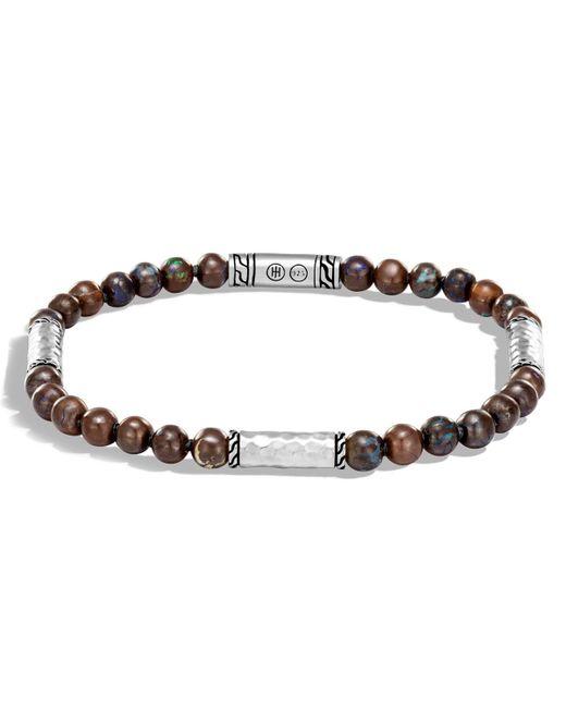 John Hardy - Metallic Men's Classic Chain Hammered Sterling Silver & Boulder Opal Bead Bracelet for Men - Lyst