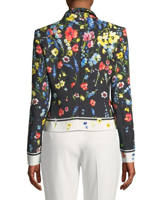 ESCADA Cotton One-button Floral-print Matelasse Jacket In