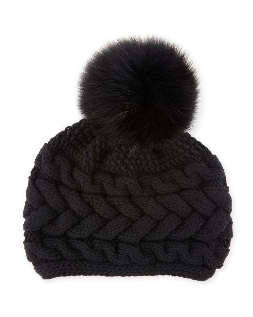 Inverni - Black Cashmere Cable-knit Beanie W/ Fur Pompom - Lyst