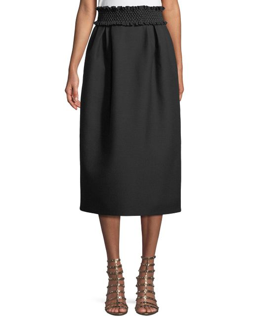 Valentino - Black Smock-waist A-line Crepe Wool-blend Ankle-length Skirt - Lyst