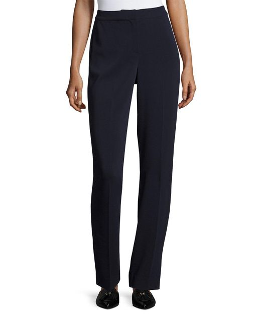 St. John | Blue Diana Cady Stretch Straight-leg Pants | Lyst