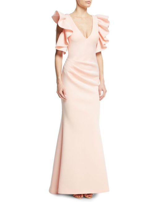 Jovani - Pink Marshmallow V-neck Ruffle Gown - Lyst