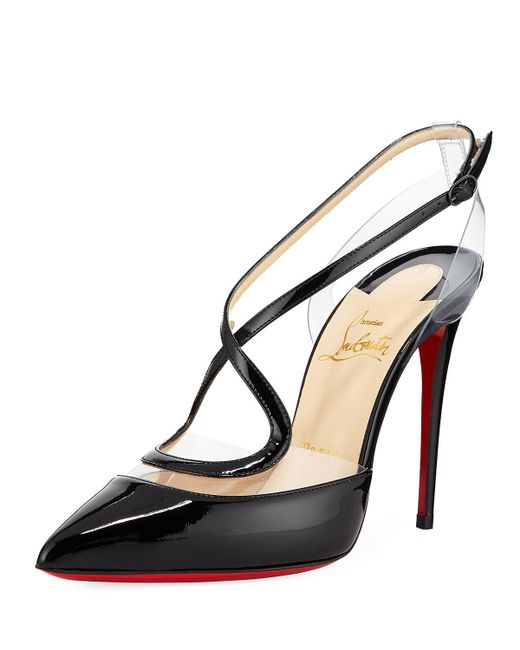 Christian Louboutin - Black Cupidetta Leather And Pvc Red Sole Pump - Lyst
